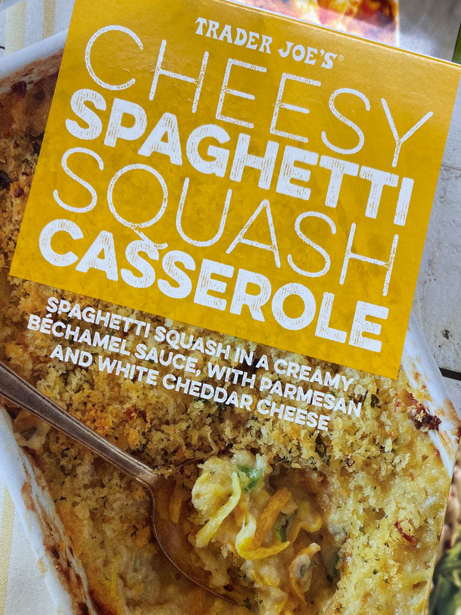 A box of frozen cheesy spaghetti squash casserole.