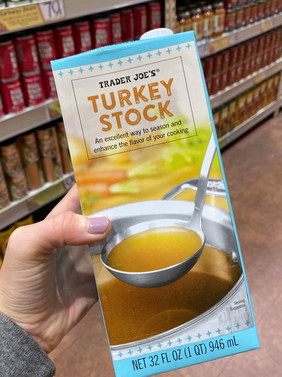 A container of turkey stock.