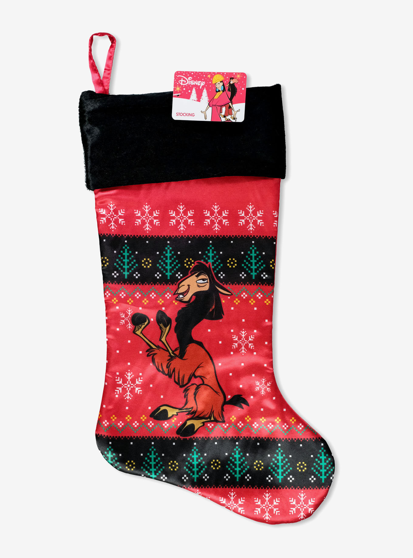 The fuzzy-trimmed, red, green, and black fair isle stocking with llama Kuzco on it