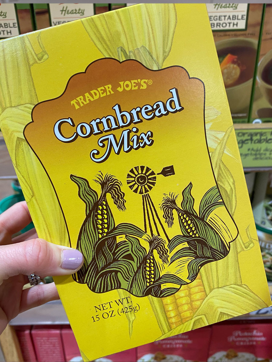 A box of Trader Joe's cornbread mix.