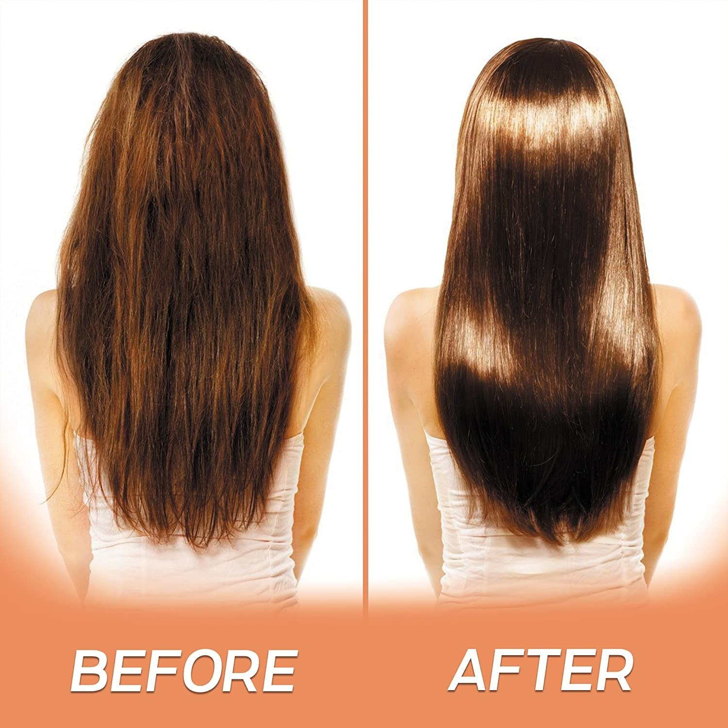 A before and after photo showing that hair is much smoother and shinier after using the hair mask