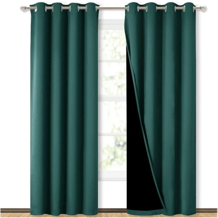 The curtains in hunter green