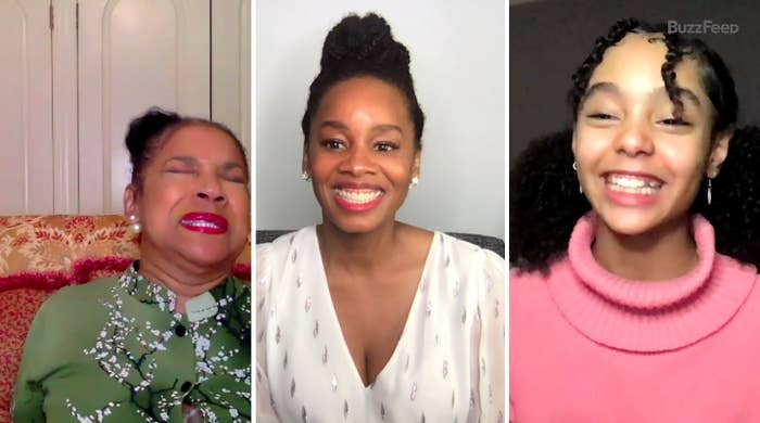 A screenshot of Phylicia Rashad, Anika Noni Rose, and Madalen Mills