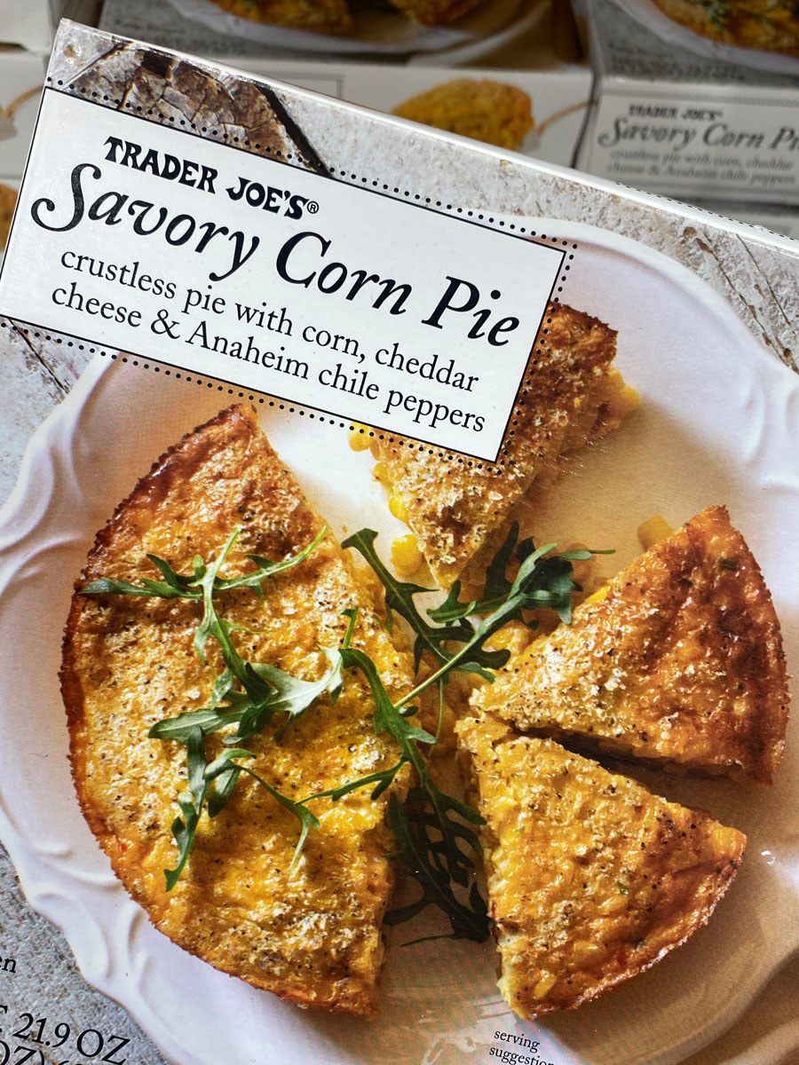 A box of savory corn pie from Trader Joe's