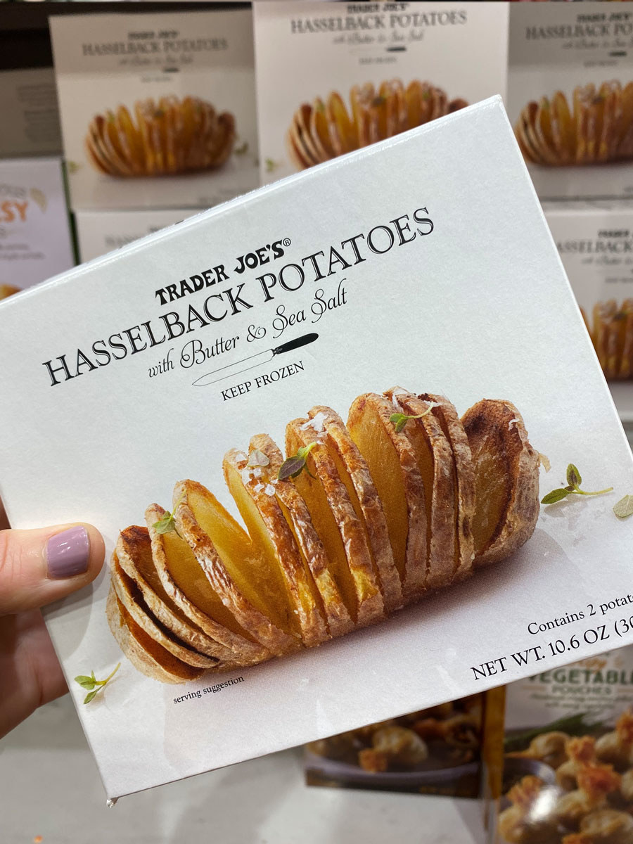 A box of hasselback potatoes from Trader Joe's.