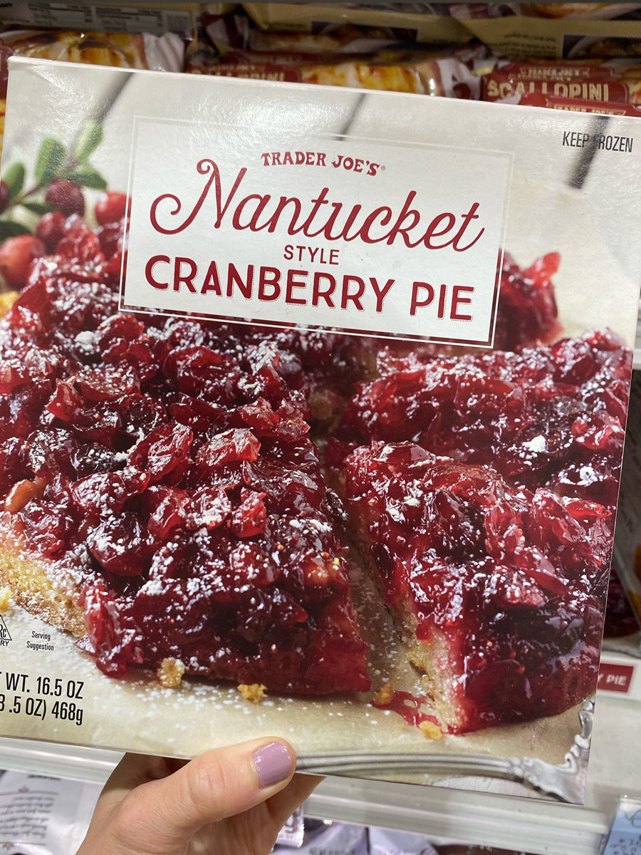A box of frozen Nantucket-style cranberry pie.