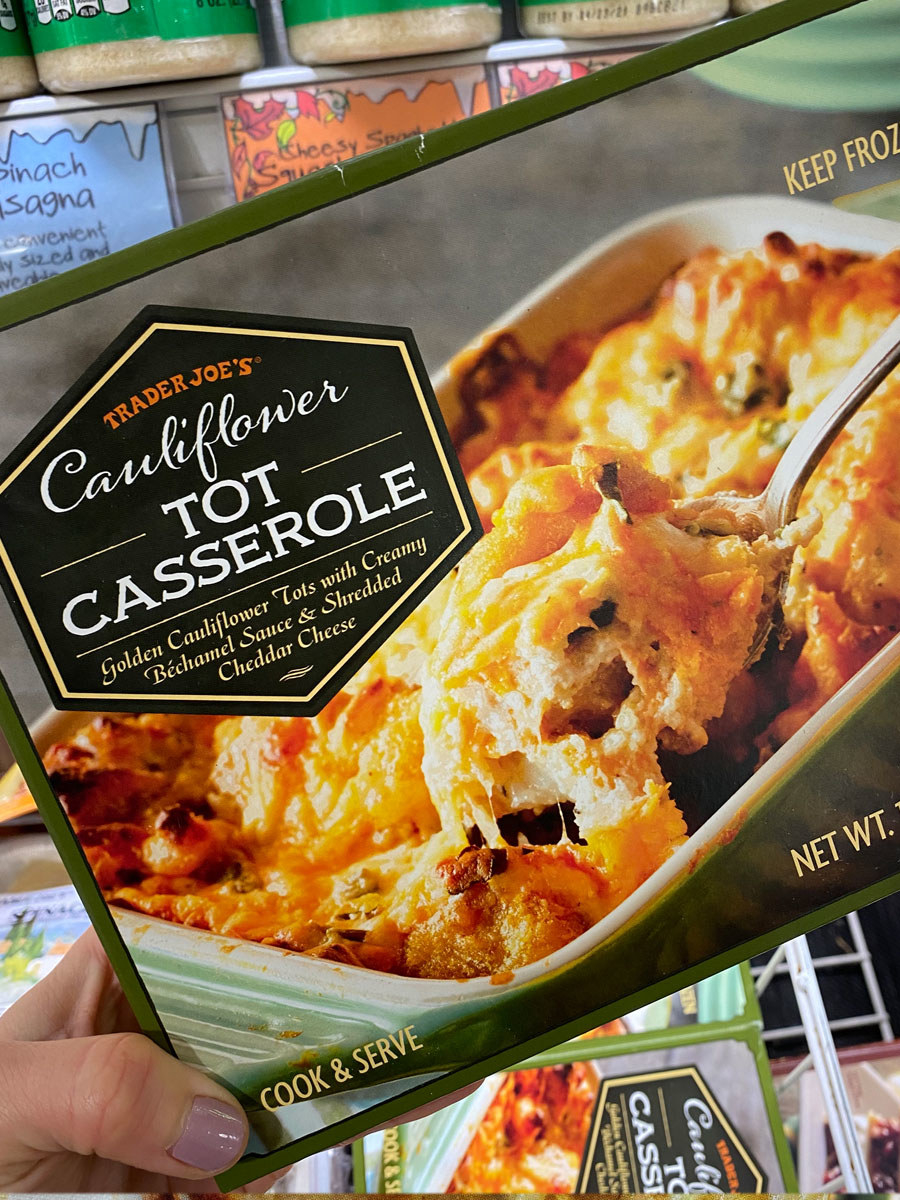 A box of frozen cauliflower tot casserole.