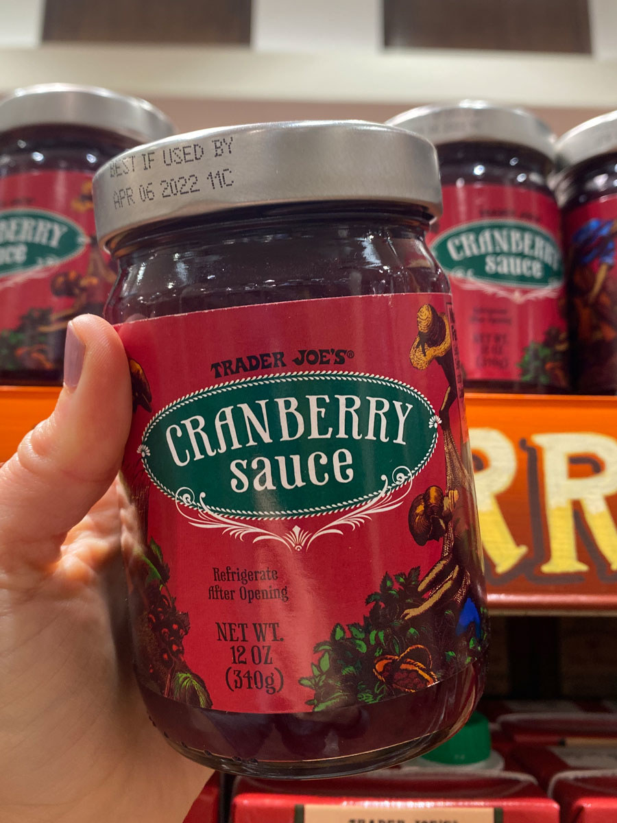 A jar of Trader Joe's cranberry sauce.