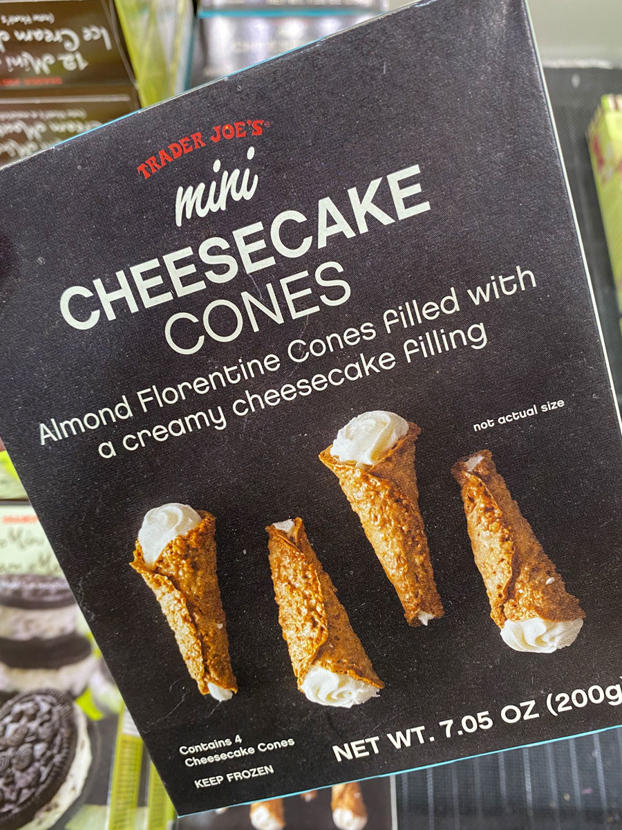 A box of frozen cheesecake cones from Trader Joe's.