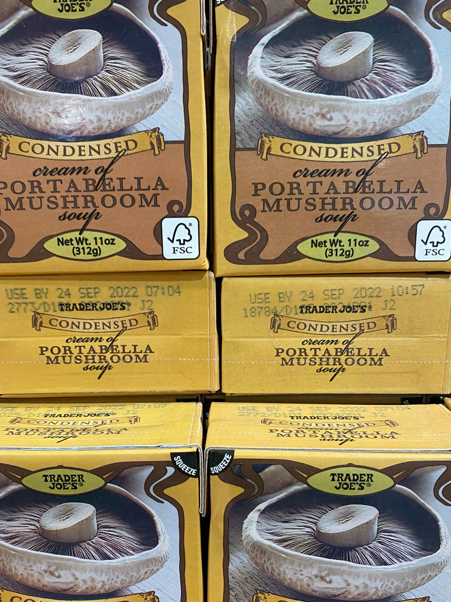 Boxes of Trader Joe's condensed cream of portabella mushroom soup.