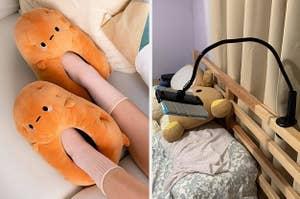 (left) Potato slippers (right) Tablet holder