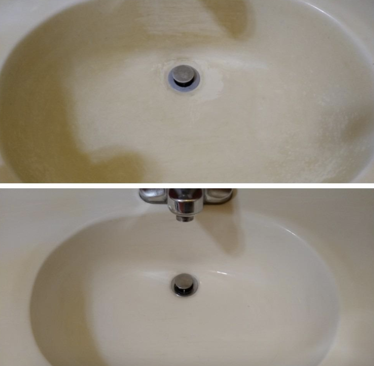 before and after photo of dirty porcelain sink on top and the sink looking clean on bottom