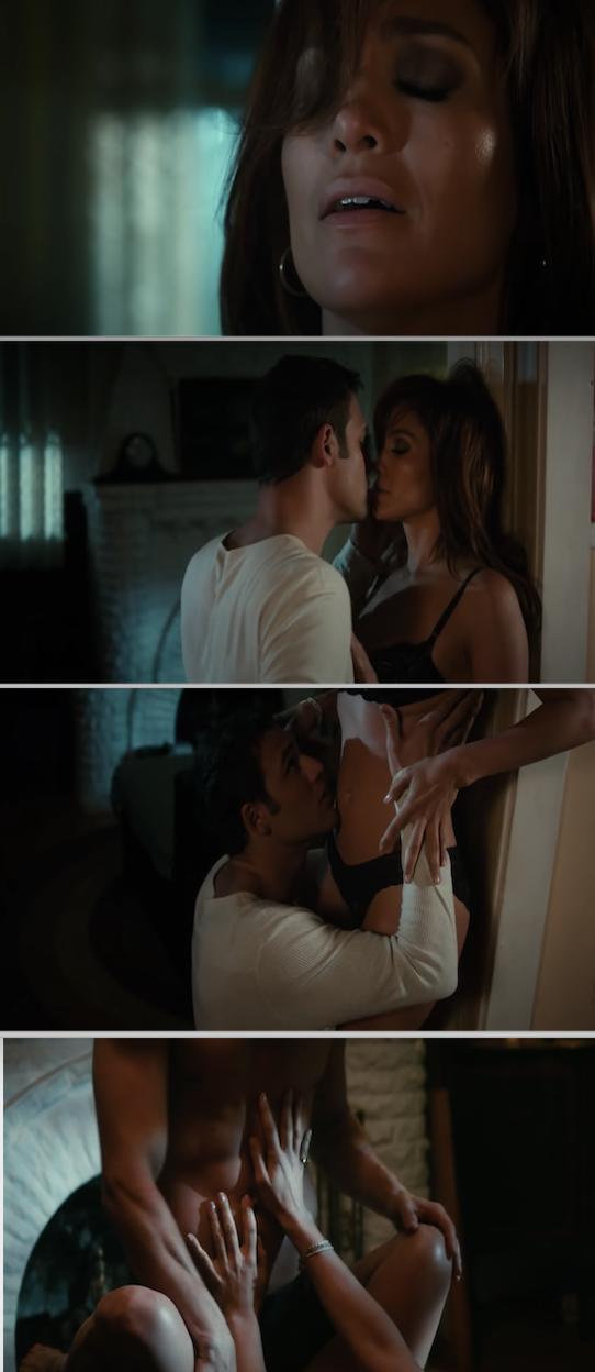"Jennifer Lopez and Ryan Guzman kissing during their sex scene in ""The Boy Next Door"""