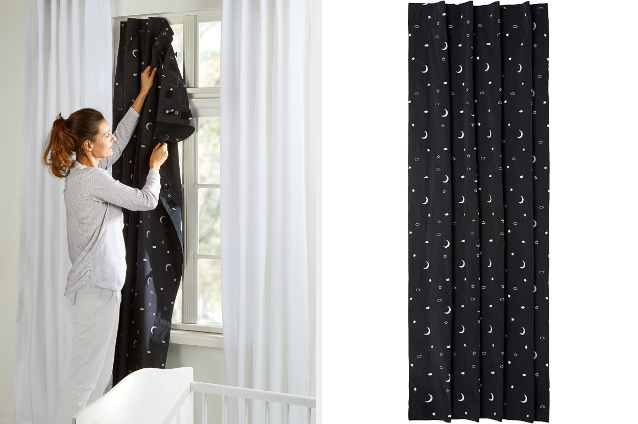 Dual image of a model hanging portable blind on a window and the black blinds with moons and stars pattern