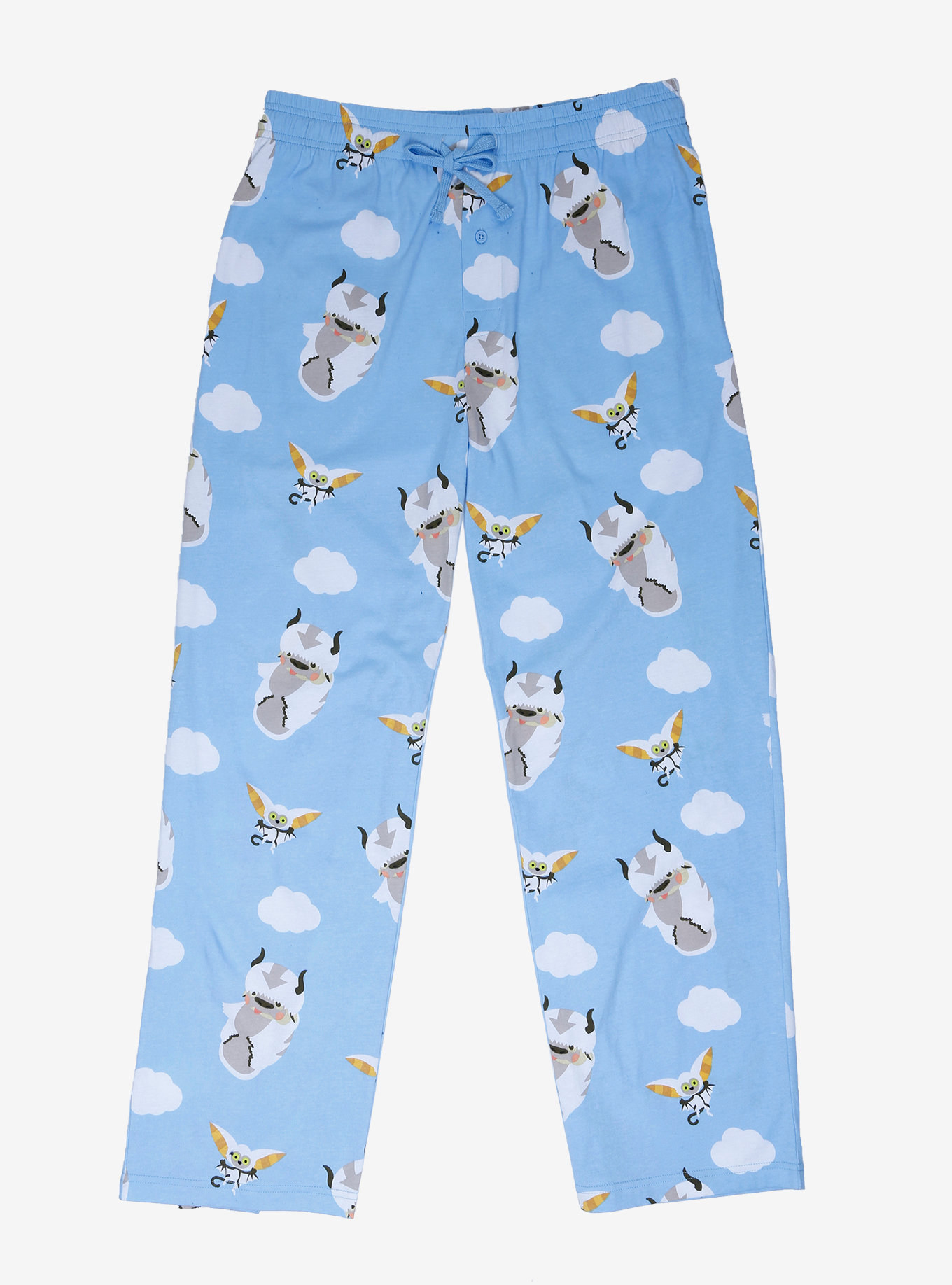 The blue pajama pants printed with clouds, Momo, and Appa