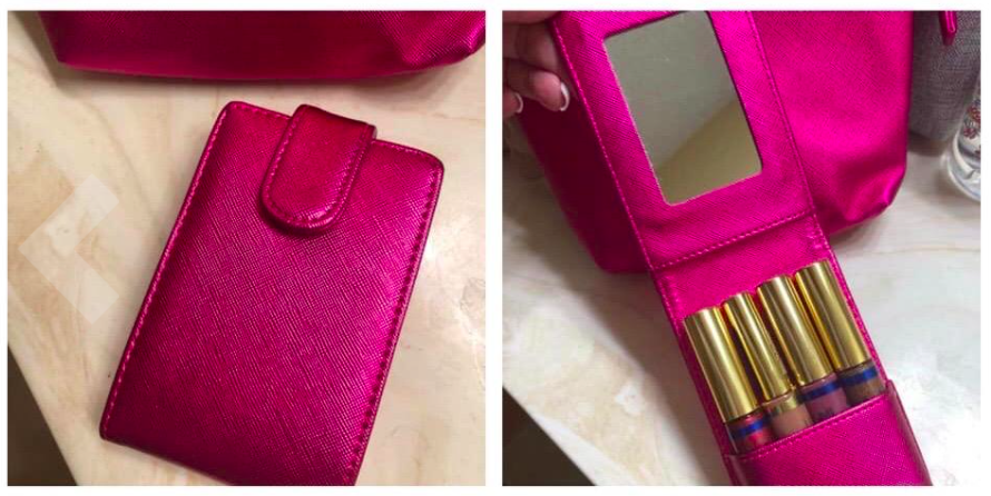 A series of customer review photos of the lip gloss holder open and closed.