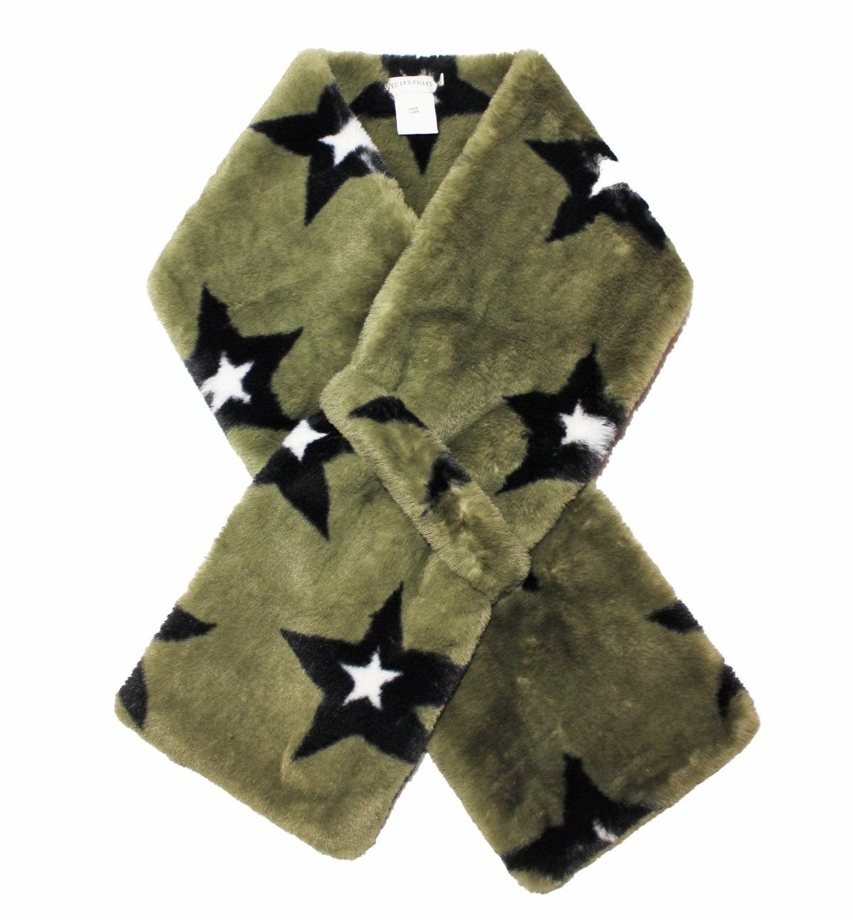 The faux fur scarf in olive with black stars.