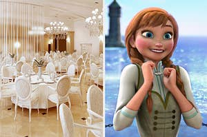 A lavish ballroom filled with luxurious tables and chairs next to an image of an excited Anna from Frozen