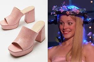 分裂图像:左边的粉红色平台凉鞋,在她的春季漂浮装备和后面的臀部右边乔治