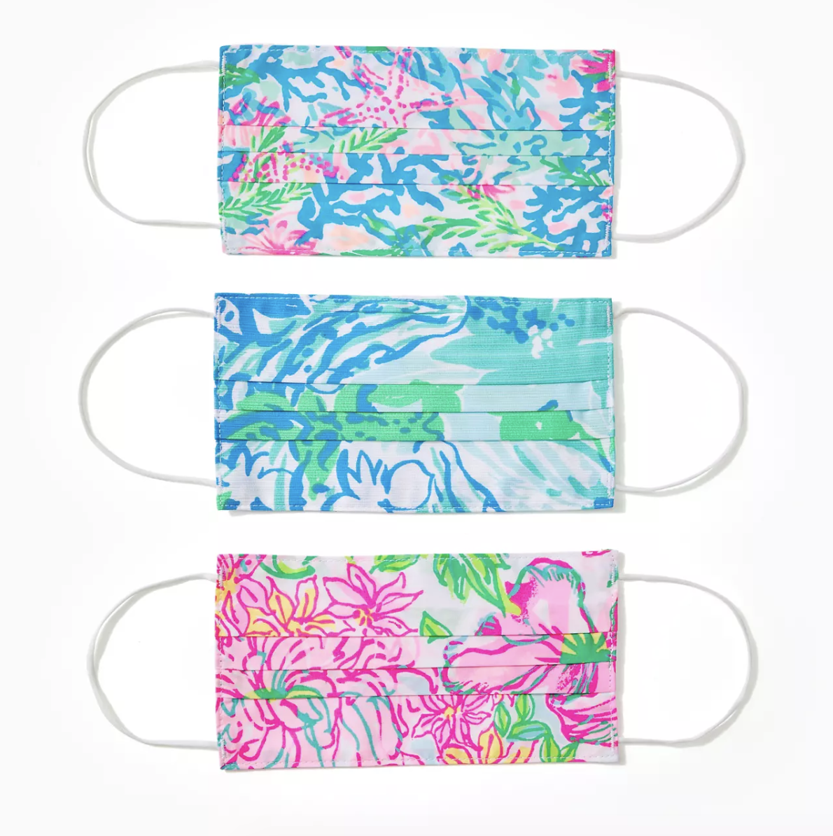 Lilly Pulitzer print masks in blue, green, and pink florals