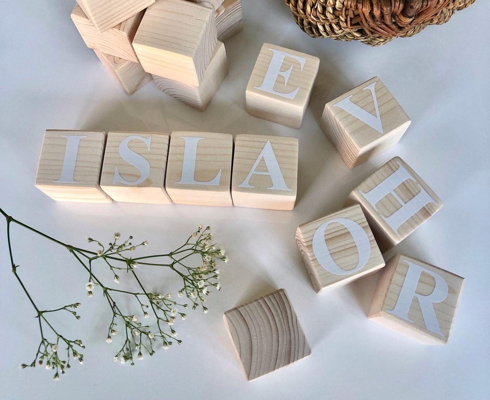 Wooden blocks with white lettering