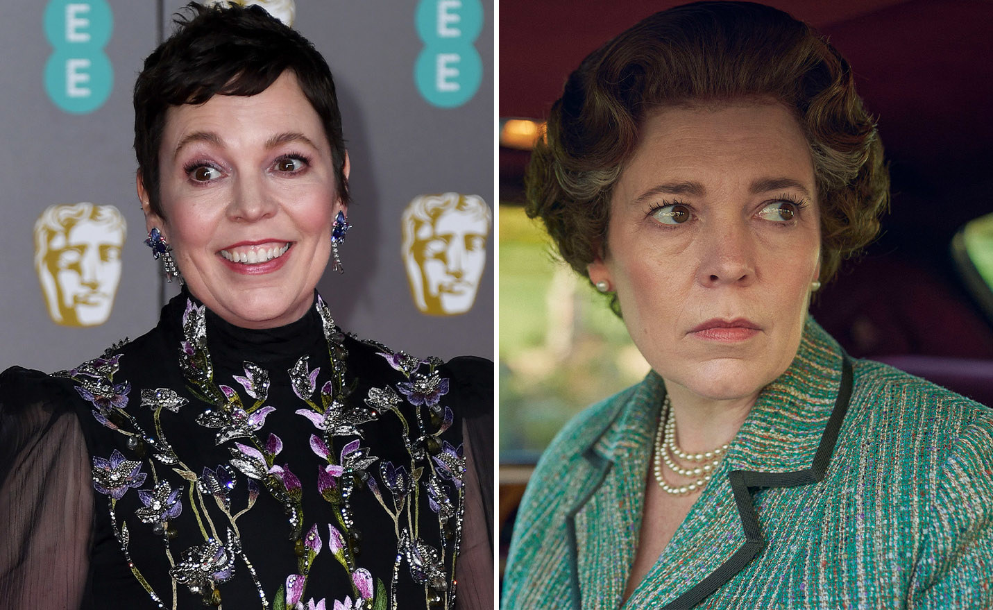 Olivia Colman on the left and Olivia Colman as Queen Elizabeth II on the right