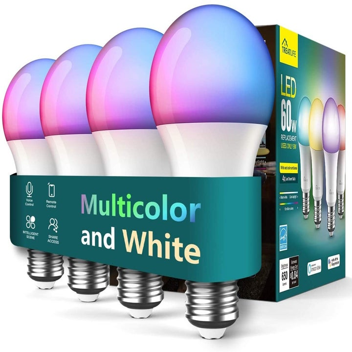 A pack of four multicolor/white light bulbs