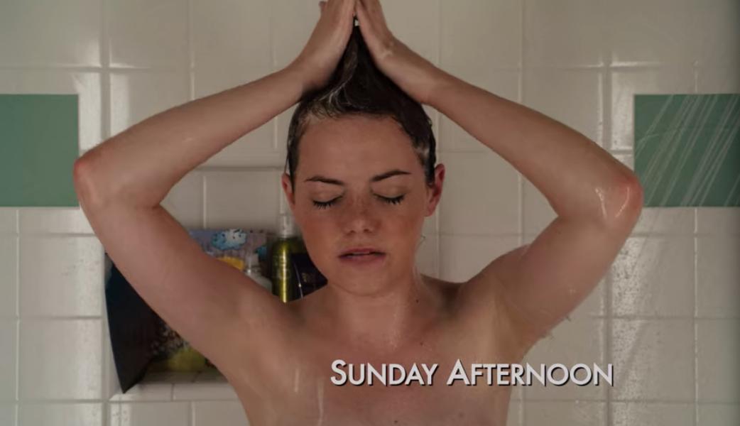 Olive taking a shower