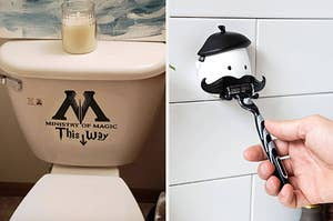 on the left a Ministry of Magic toilet decal and on right a mustache razor holder