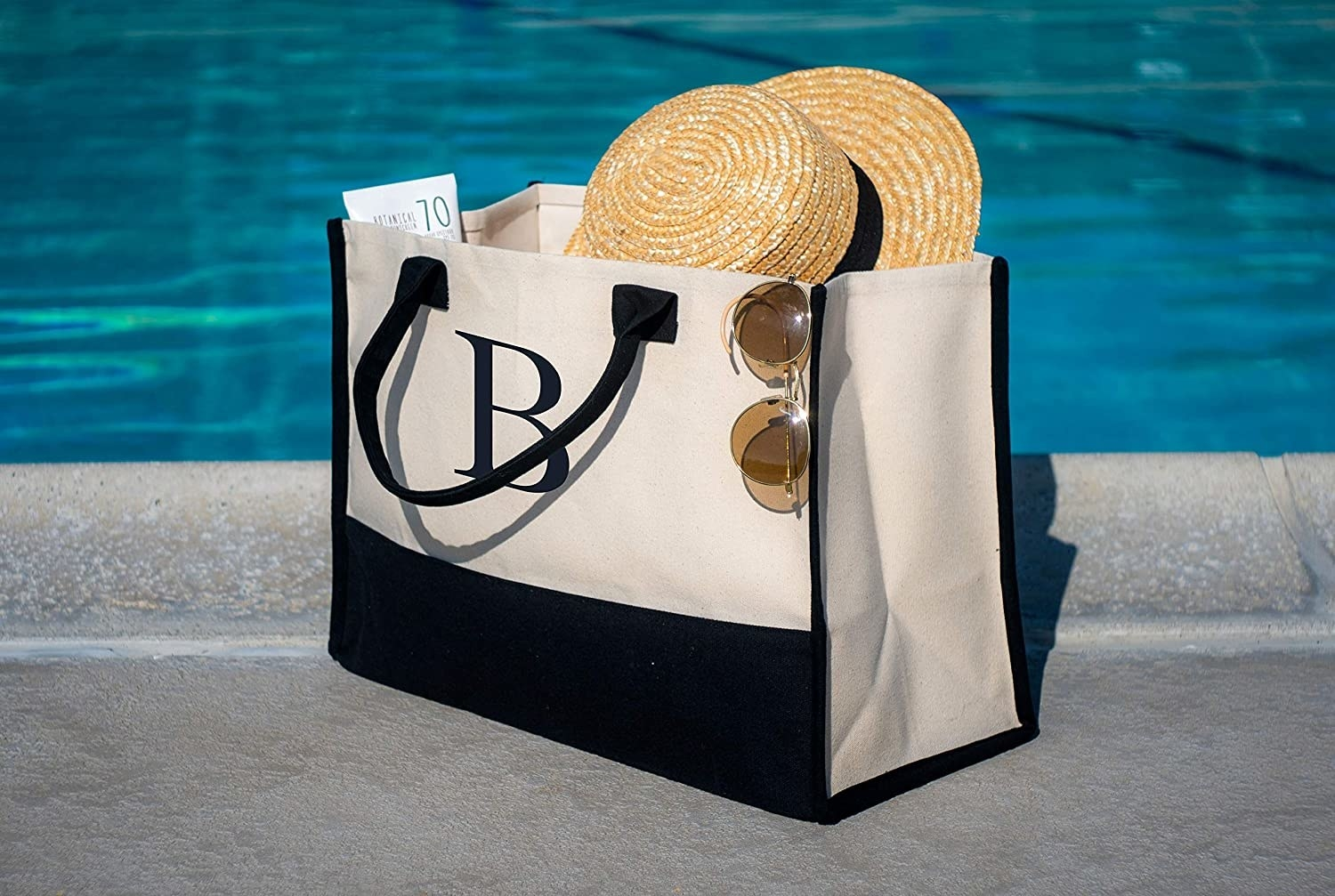 Monogram tote bag with the letter B