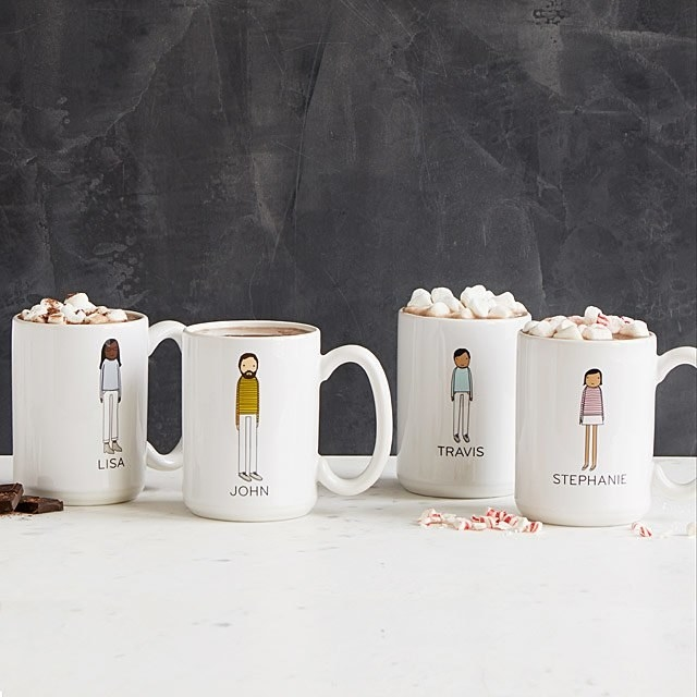 Set of four white mugs with custom animated characters and names