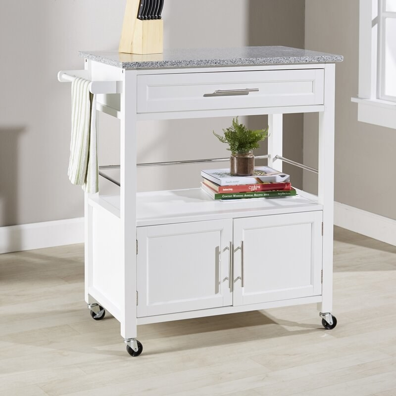 The white kitchen island