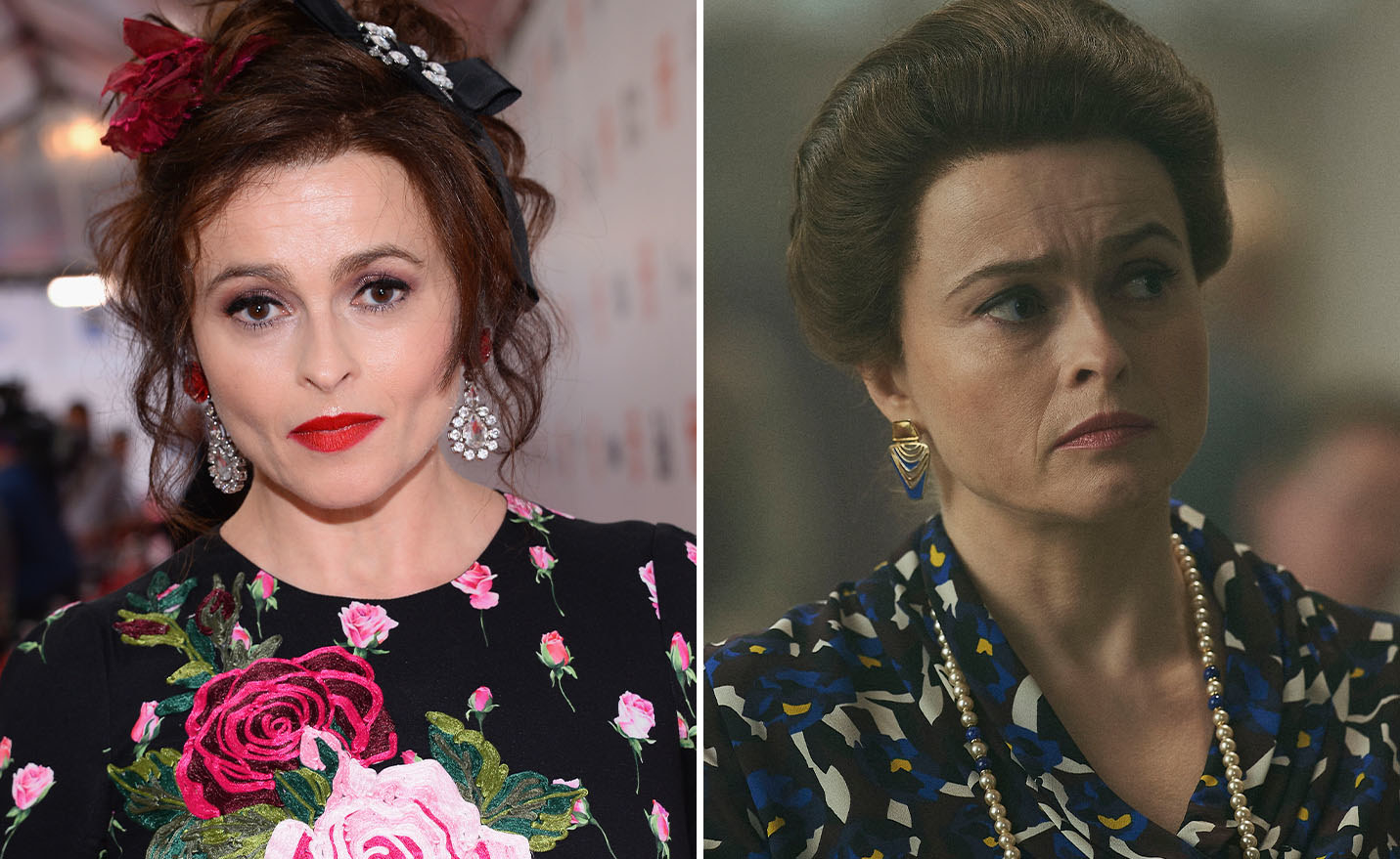 Helena Bonham Carter on a red carpet on the left and Helena Bonham Carter as Princess Margaret on the right