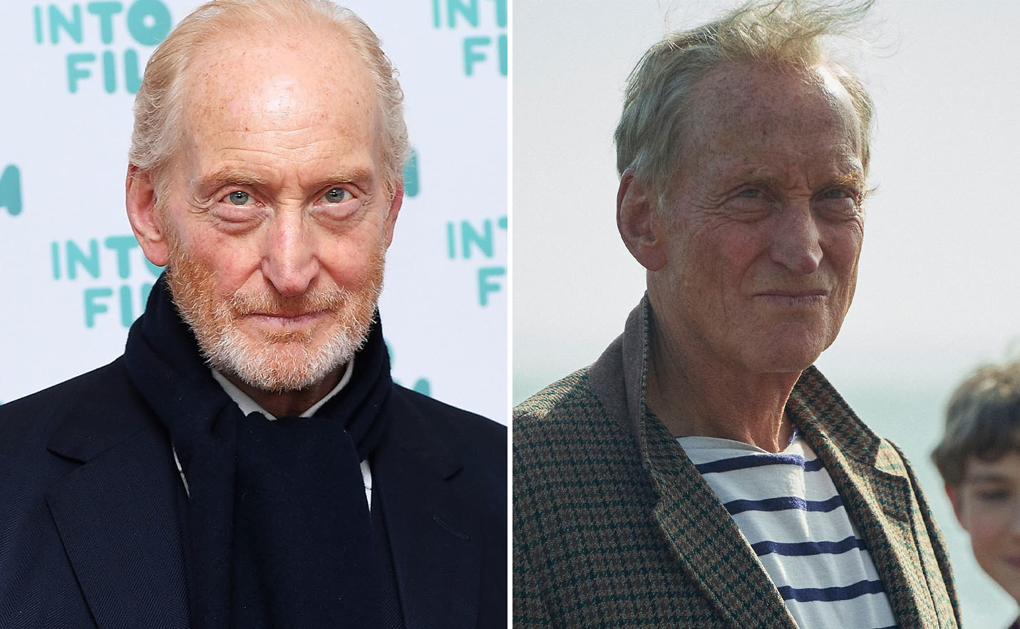 Charles Dance on the left and Charles Dance as Lord Mountbatten on the right