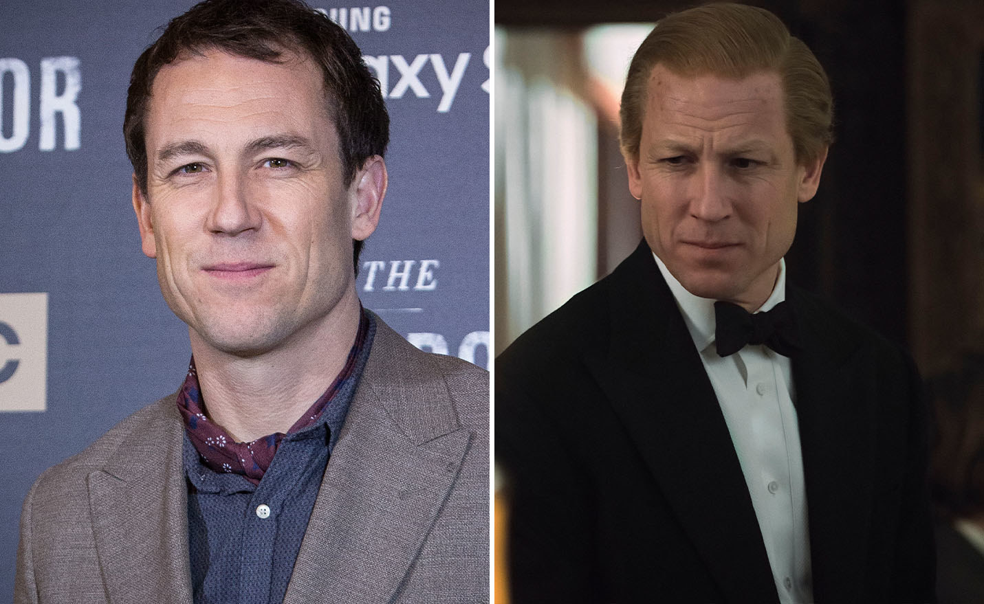 Tobias Menzies on the left and Tobias Menzies as Prince Philip on the right