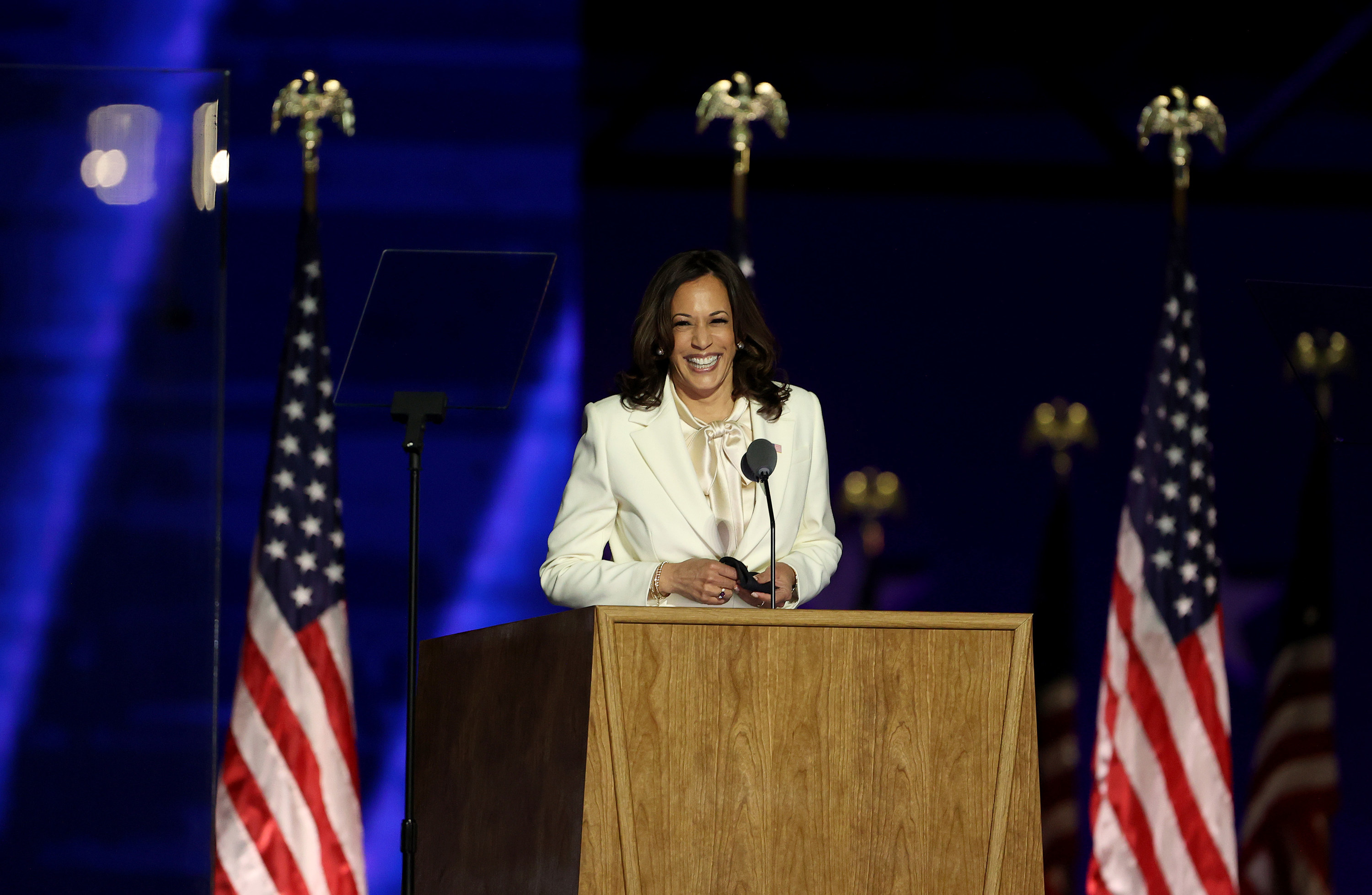 Harris speaking after she and Vice President Biden were declared the winners of the 2020 Presidential election