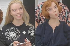 """在穿上她的红色假发之前和之后的Anya Taylor-Joys""""女王的Gambit"""""""