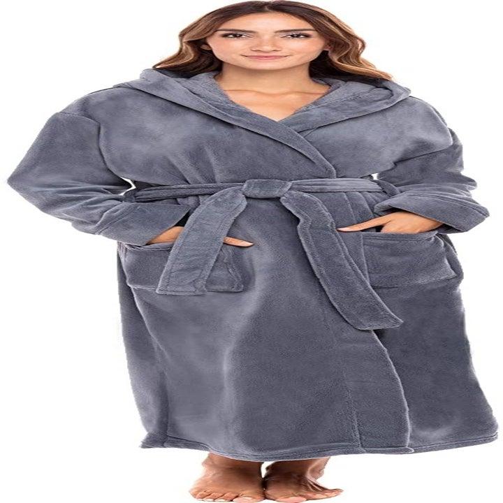 A model wearing the bathrobe in flint stone grey