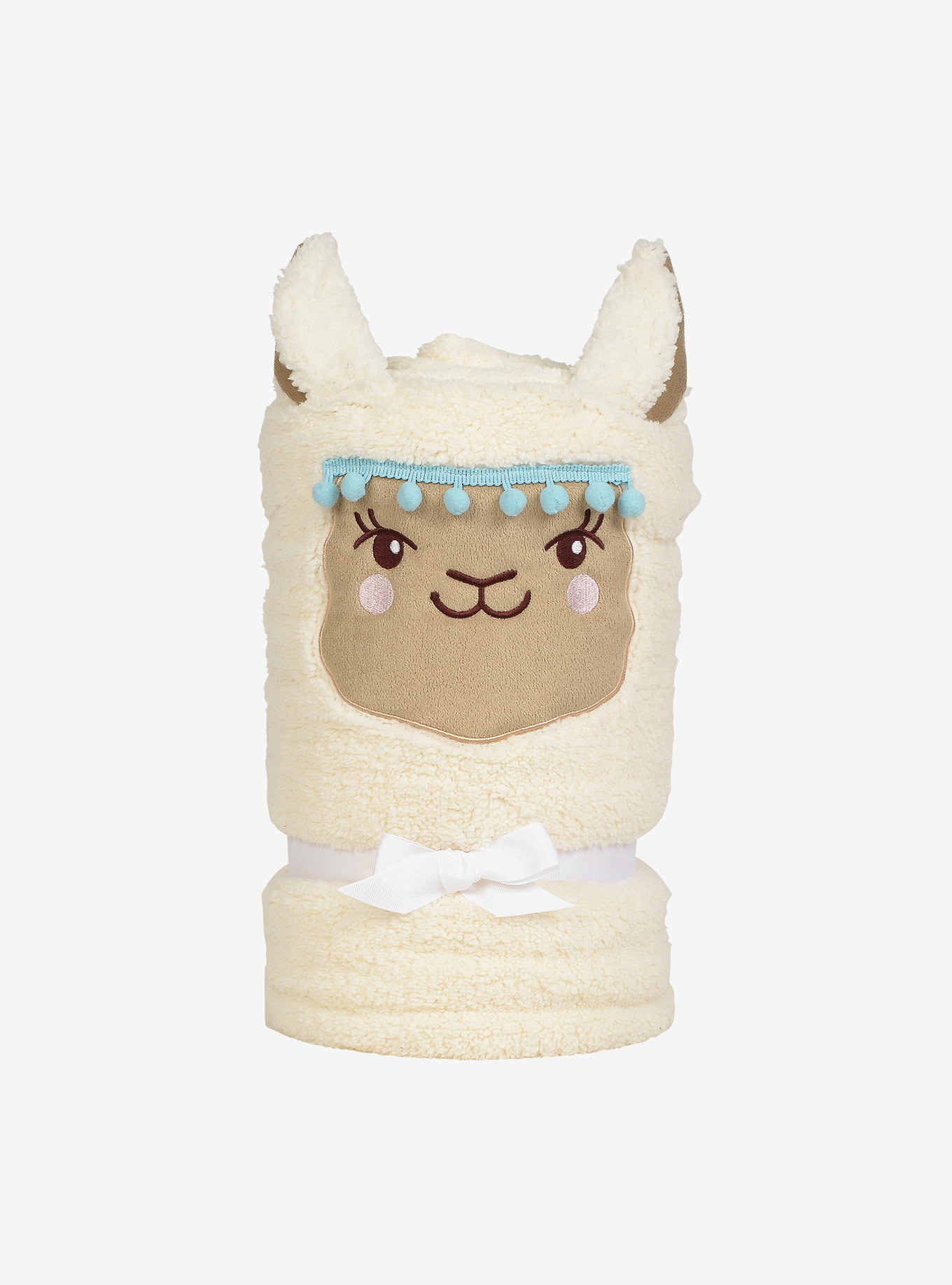 the llama throw all rolled up and standing upright