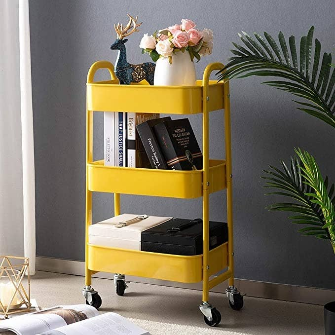 the rolling cart organizer in yellow