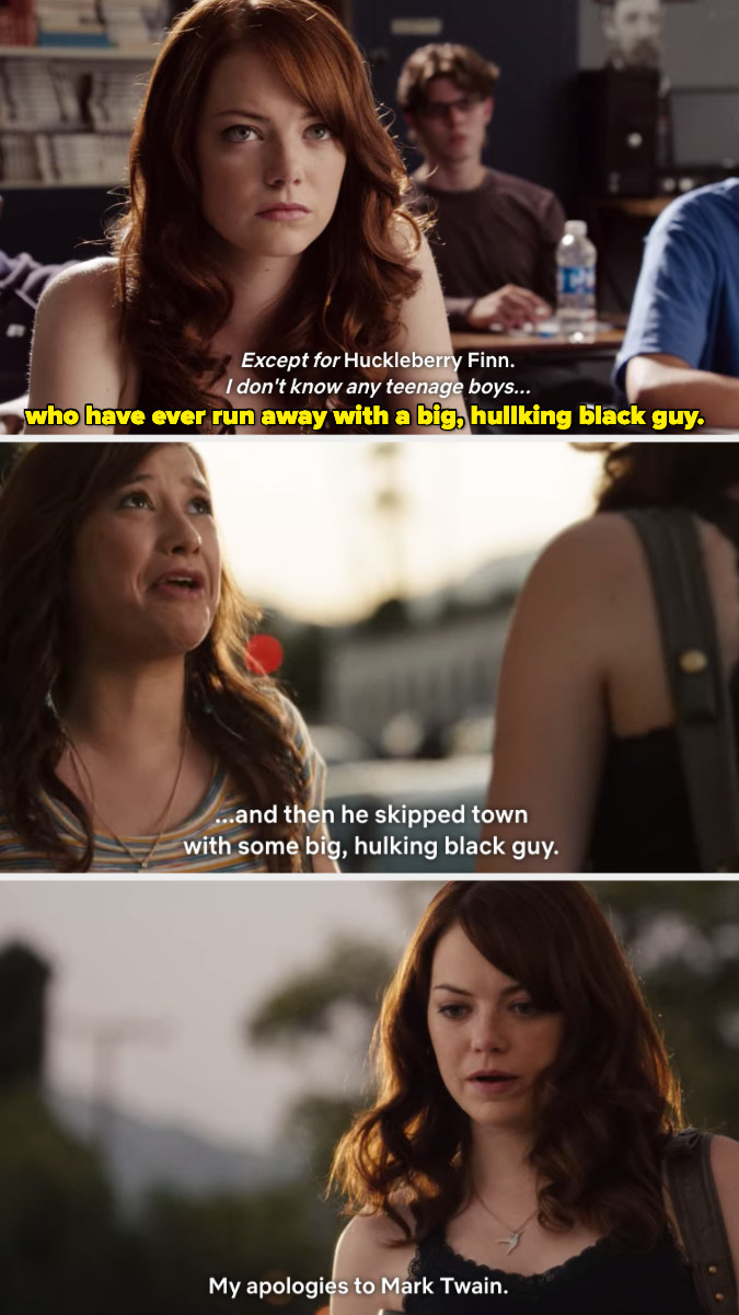 Olive talking to a girl on the street after reflecting on something from earlier in the movie