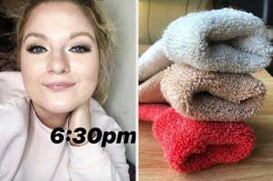 在左审阅者身上,戴眼妆和右侧的多彩色模糊袜子