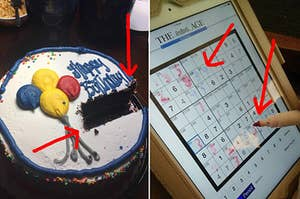 A birthday cake with a rectangular shape cut out, and someone using an Expo marker on an iPad