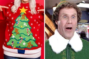 """On the left, an """"ugly"""" sweater with a Christmas tree on it, and the right, Buddy the Elf opening his mouth wide in surprise"""