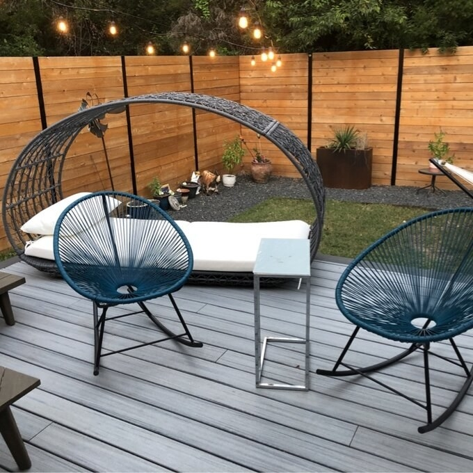 Reviewer's picture of the circular wire rocking chairs