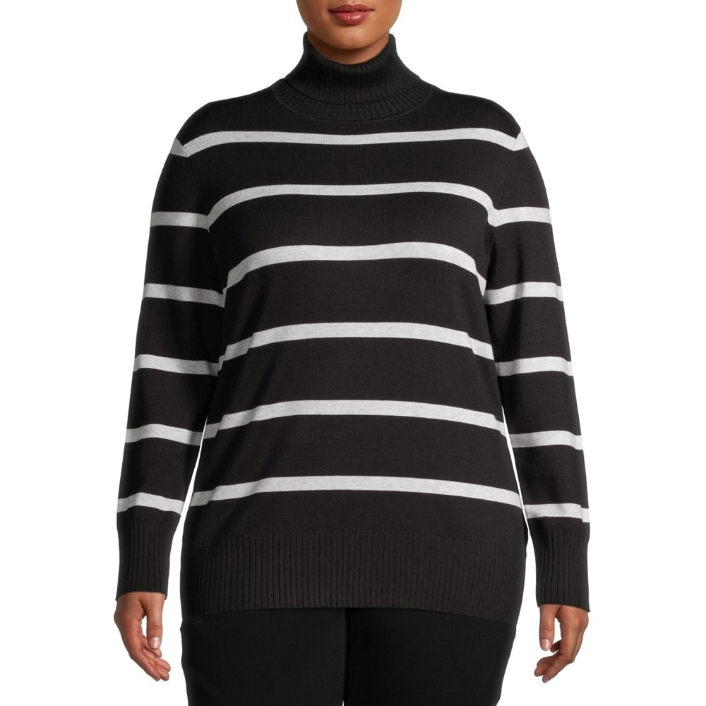 model wears black and white striped turtleneck sweater