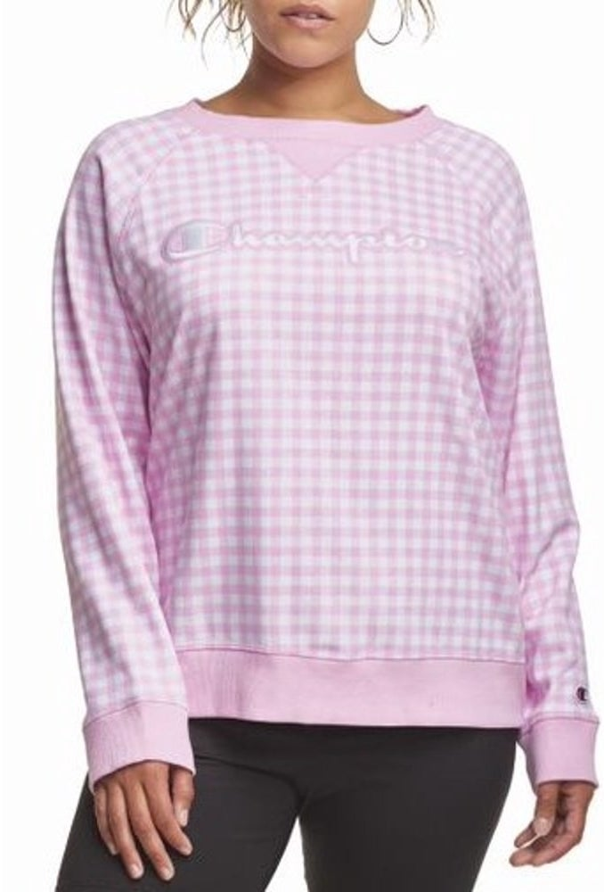 model wears pink gingham sweater terry crewneck sweatshirt