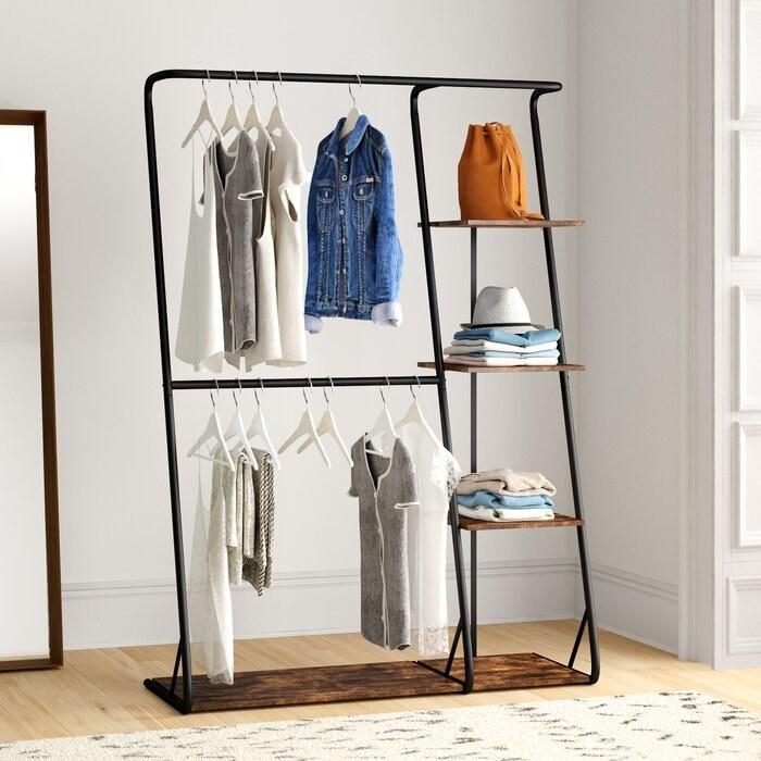 steel black garment rack with solid wood bottom