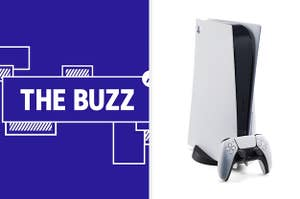 Splitscreen image of a purple graphic with the words THE BUZZ in white letters on the left side and a Playstation 5 on the right side