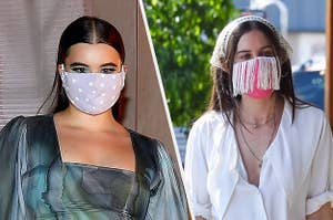 Barbie Ferreira in a heart print mask and Scout Willis in a fringe mask